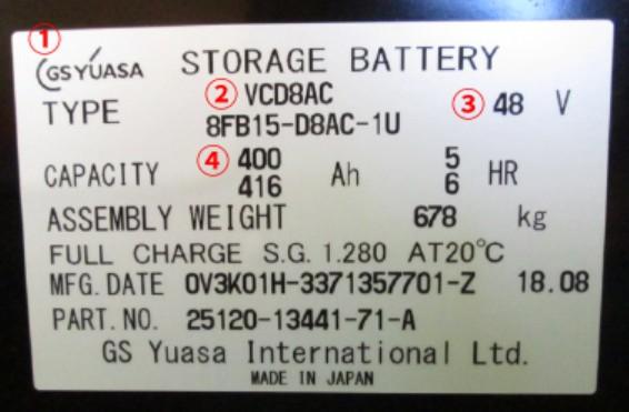 バッテリー 型番 説明 VCD8AC