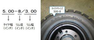 フォークリフト用カウンター式タイヤのサイズ